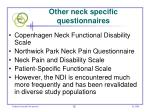 other neck specific questionnaires