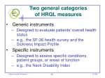 two general categories of hrql measures