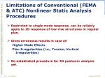 limitations of conventional fema atc nonlinear static analysis procedures