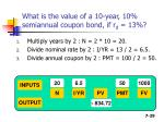 what is the value of a 10 year 10 semiannual coupon bond if r d 13