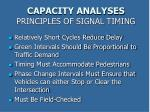 capacity analyses principles of signal timing