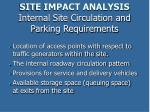 site impact analysis internal site circulation and parking requirements