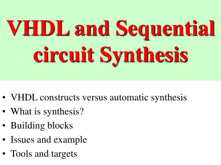 vhdl and sequential circuit synthesis n.