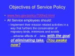 objectives of service policy