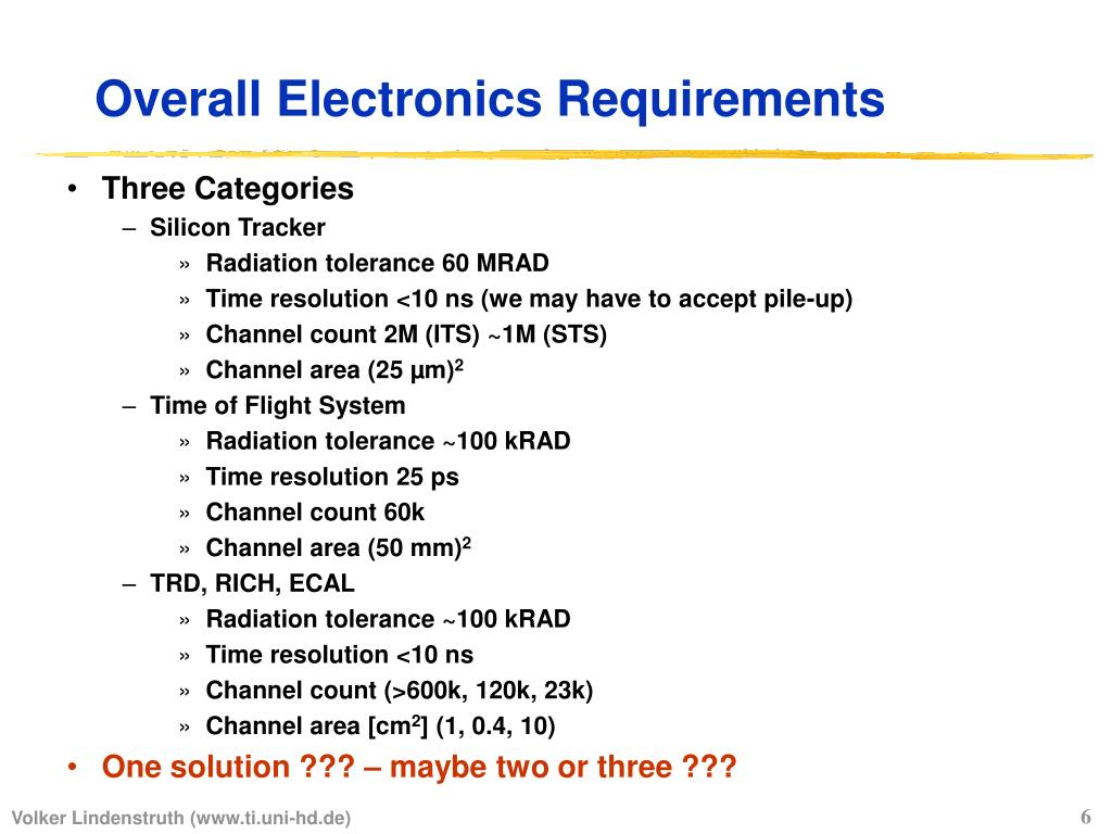Overall Electronics Requirements