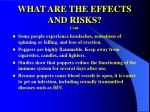 what are the effects and risks cont