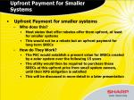 upfront payment for smaller systems