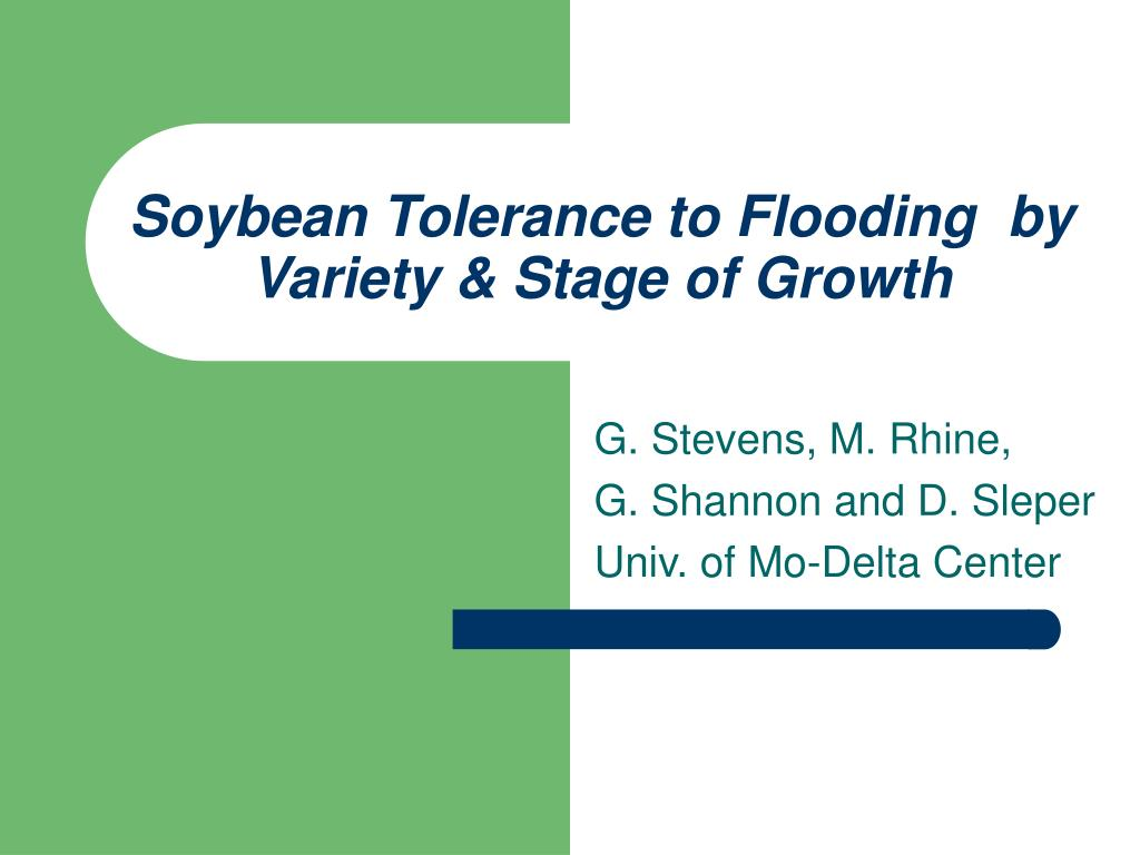 soybean tolerance to flooding by variety stage of growth l.