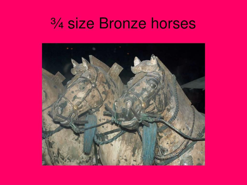¾ size Bronze horses