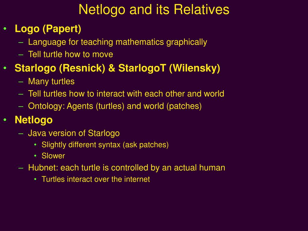 netlogo and its relatives l.