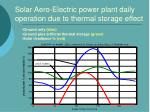 solar aero electric power plant daily operation due to thermal storage effect