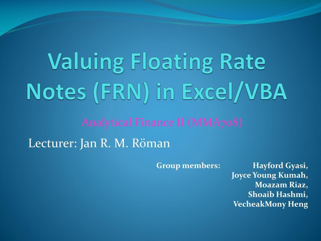 valuing floating rate notes frn in excel vba l.