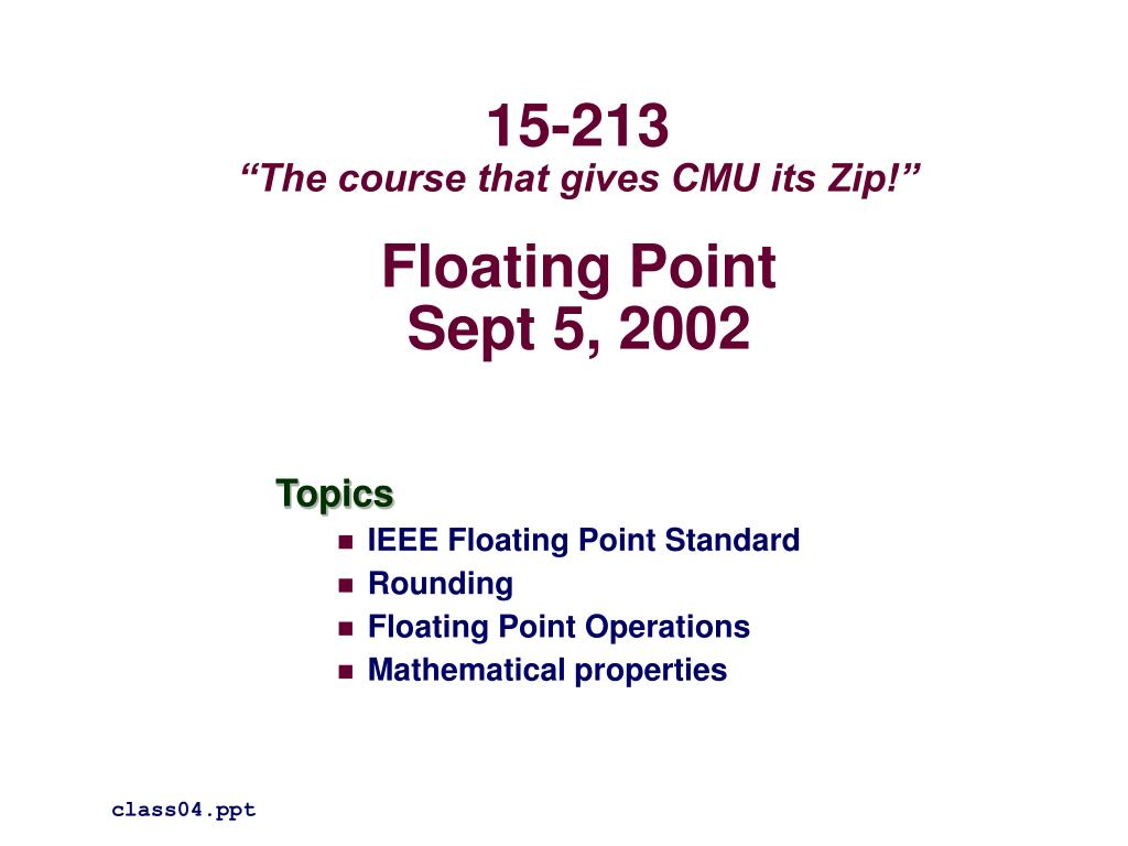 floating point sept 5 2002 l.