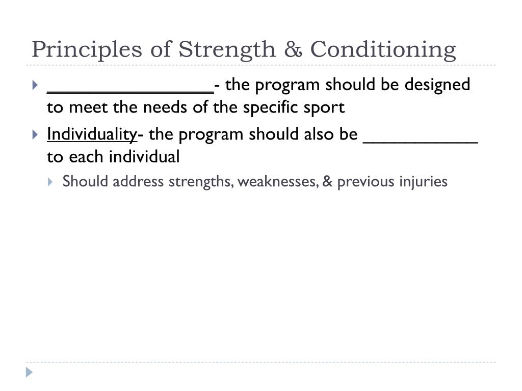 Principles of Strength & Conditioning