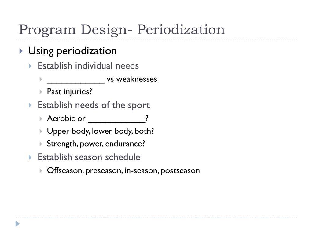 Program Design- Periodization