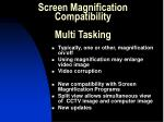 screen magnification compatibility multi tasking