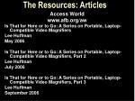the resources articles