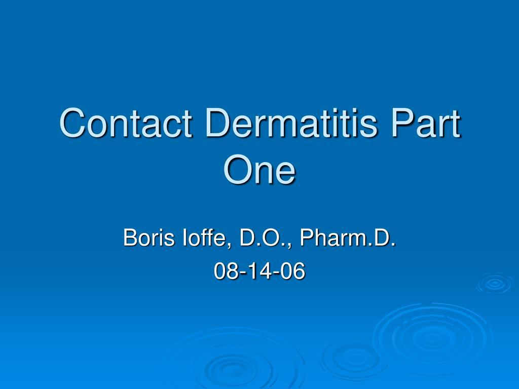 contact dermatitis part one l.