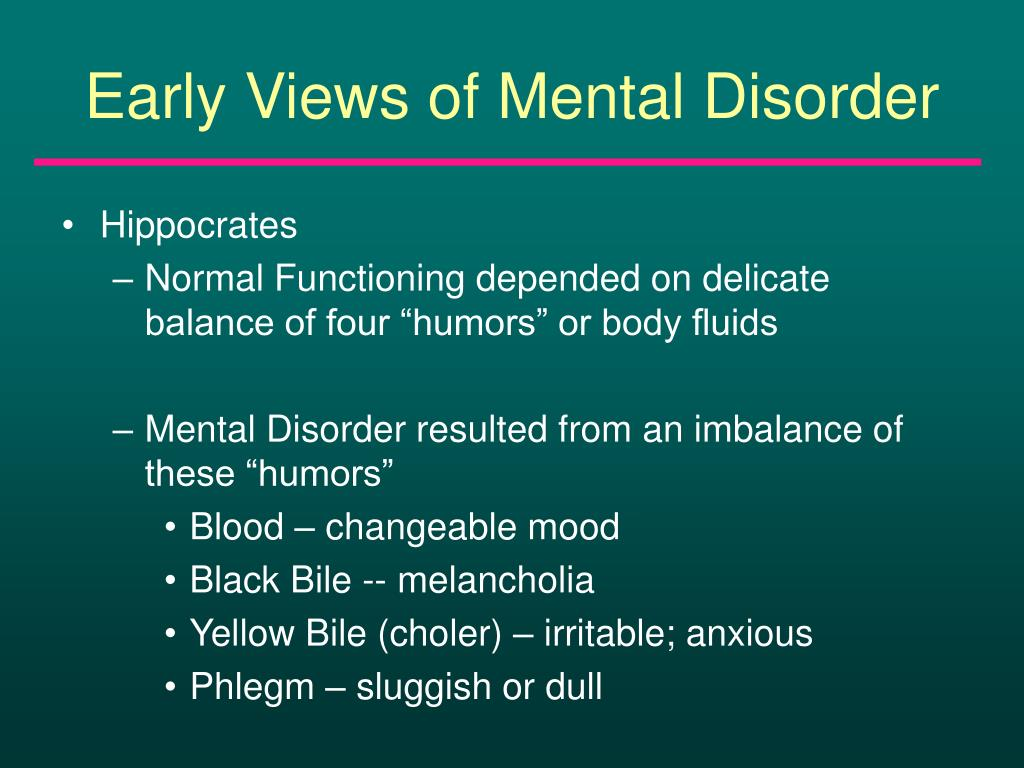 Early Views of Mental Disorder