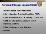personal fitness lesson 9 lab