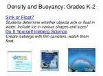 density and buoyancy grades k 2