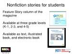 nonfiction stories for students