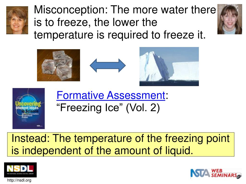 Misconception: The more water there is to freeze, the lower the temperature is required to freeze it.
