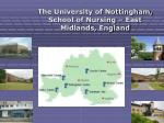 the university of nottingham school of nursing east midlands england