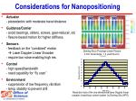 considerations for nanopositioning