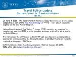 travel policy update electronic system for travel authorization esta
