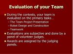 evaluation of your team
