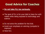 good advice for coaches
