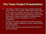 the team project presentation