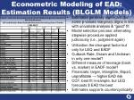 econometric modeling of ead estimation results blglm models