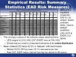 empirical results summary statistics ead risk measures