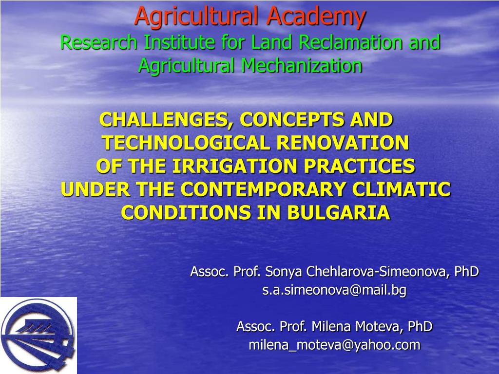 agricultural academy research institute for land reclamation and agricultural mechanization l.