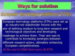 european technology platforms etps