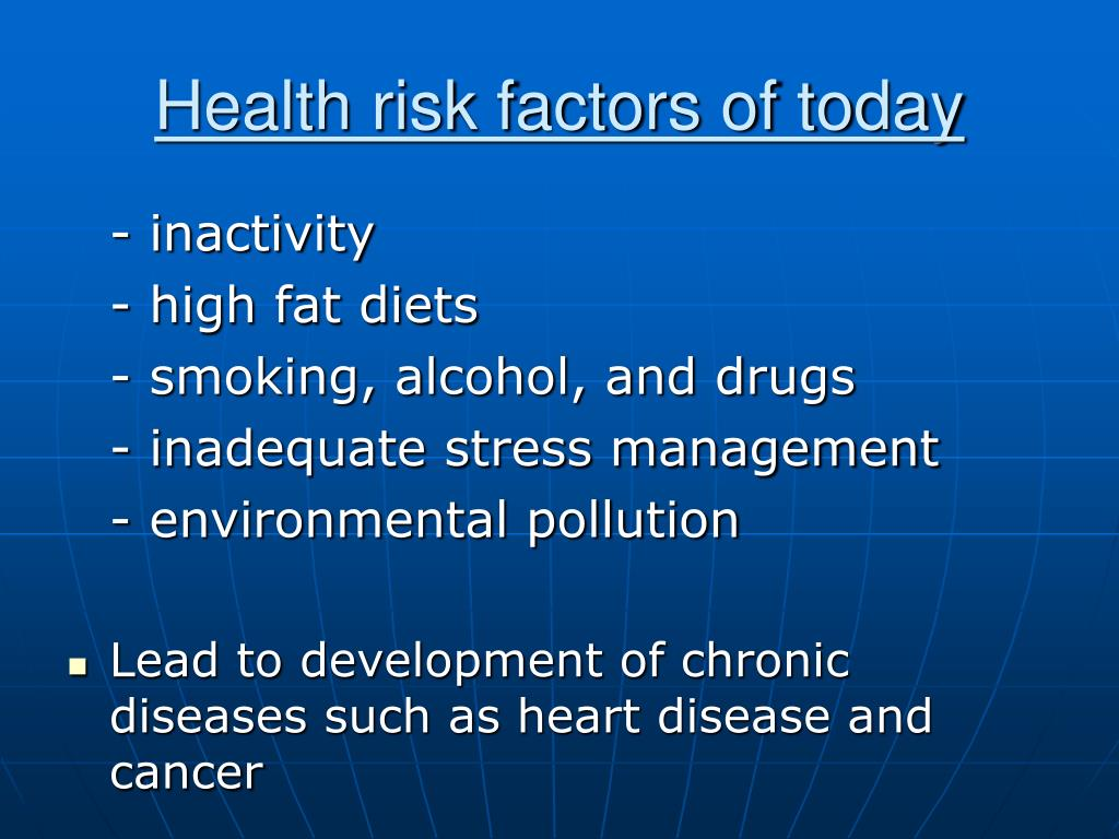 Health risk factors of today