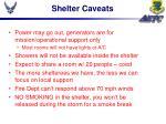 shelter caveats