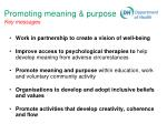 promoting meaning purpose key messages