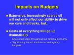 impacts on budgets