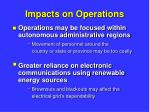 impacts on operations