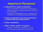 impacts on personnel