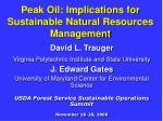 peak oil implications for sustainable natural resources management