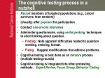 the cognitive testing process in a nutshell