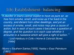 1 b establishment balancing