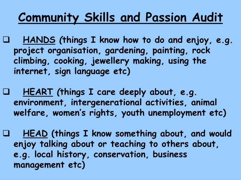 Community Skills and Passion Audit