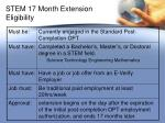 stem 17 month extension eligibility