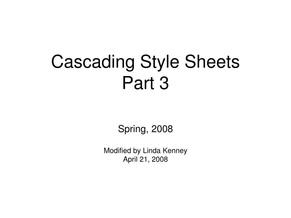 cascading style sheets part 3 l.