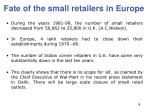 fate of the small retailers in europe